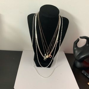 7 Sterling Silver Chains / Necklace Lot